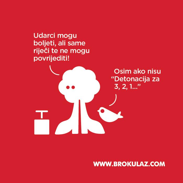 """Udarci mogu boljeti, ali same riječi te ne mogu povrijediti! - Osim ako nisu """"Detonacija za 3, 2, 1..."""" - Brokula&Ž"""